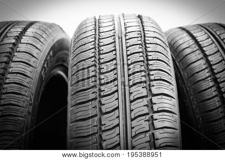 Set of tires on a white background
