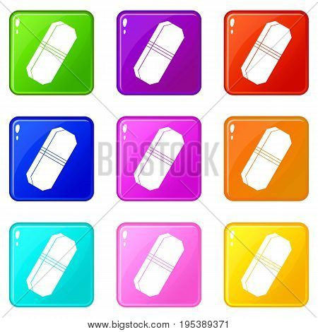 Pencil eraser icons of 9 color set isolated vector illustration