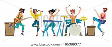 Rock band. Young men and women play musical instruments. Guitarists, keyboardist, drummer and singer. Vector illustration, isolated on white background.