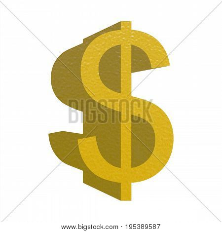 Gold Usd Sign Isolated Over White