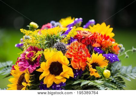 Colorful bouquet with sunflowers in the garden
