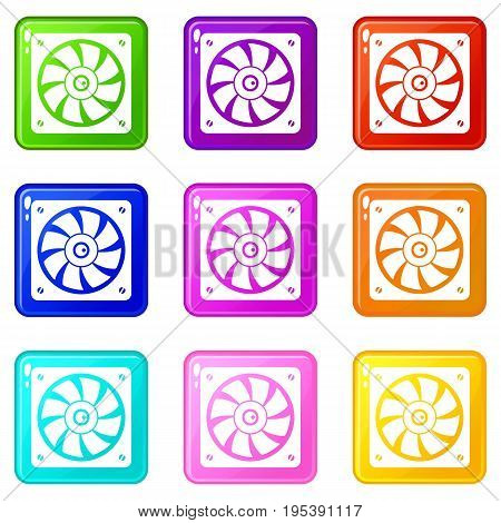 Computer fan icons of 9 color set isolated vector illustration