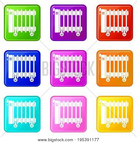 Oil electric heater on wheels icons of 9 color set isolated vector illustration