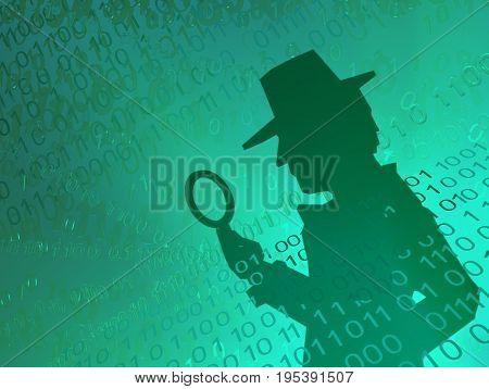 Virtual digits abstract 3d illustration shadow figure with magnifying glass horizontal