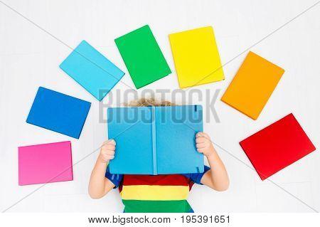 Child Reading Books. School For Kids.