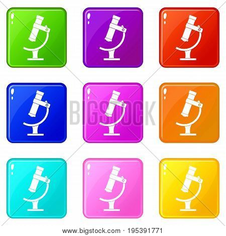 Microscope icons of 9 color set isolated vector illustration