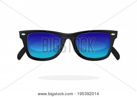 Modern sunglasses with black plastic-framed frames and blue mirror lenses. Vector illustration in cartoon style. Summer accessory. Eyewear for protection from sun beam