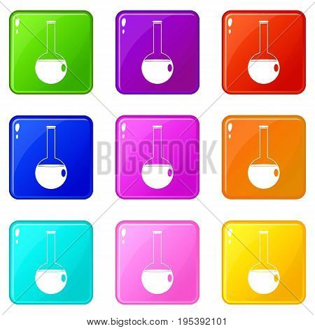Chemical beaker icons of 9 color set isolated vector illustration