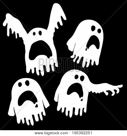 Ghosts Halloween cartoon character white silhouette vector illustration horizontal isolated