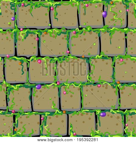 Old stone wall cartoon seamless tile vector texture pattern square