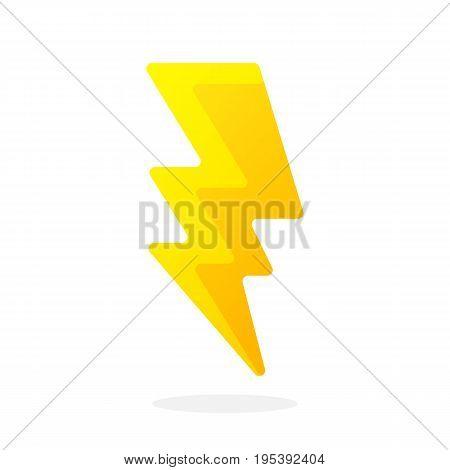 Electric lightning bolt isolated on white background. Vector illustration in flat style. Weather symbol. Thunderbolt strike symbol