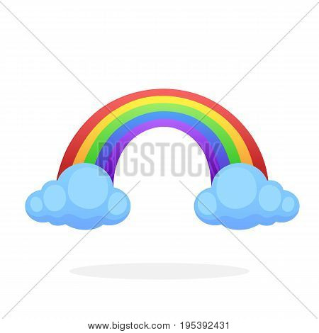 Rainbow with two clouds with cloud isolated on white background. Vector illustration in flat style. Weather symbol of weather phenomena