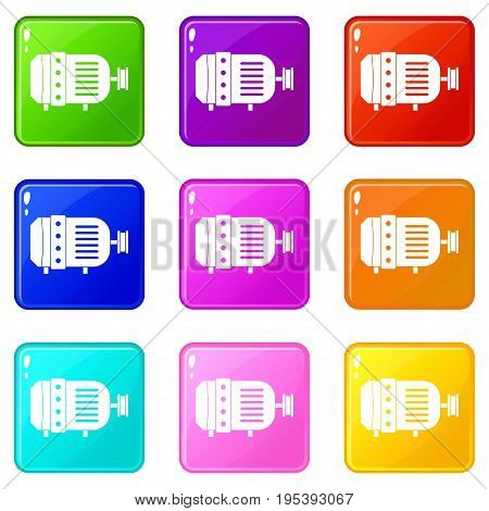 Electric motor icons of 9 color set isolated vector illustration
