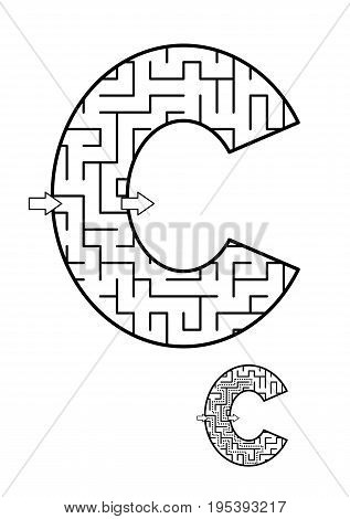 Back to school or regular learning reinforcement alphabet activity for kids - letter C maze. Use as is or add fun cartoon characters. Answer included.