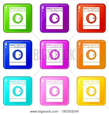 Washing machine icons of 9 color set isolated vector illustration