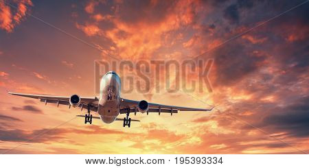 Landing Airplane. Landscape With White Passenger Airplane