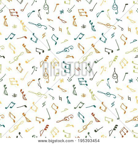 Varicolored seamless music pattern in doodle style on white background. Hand drawn musical theme with clef and note for background, textile, paper packaging, wrapping paper. Vector illustration.
