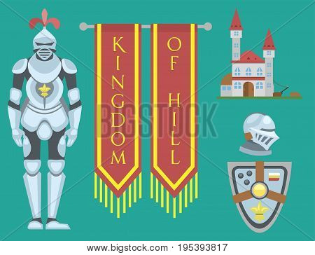 Heraldic royal crest medieval knight elements vintage king symbol heraldry brave hero vector illustration. Historical insignia attributes luxury ornament graphic.