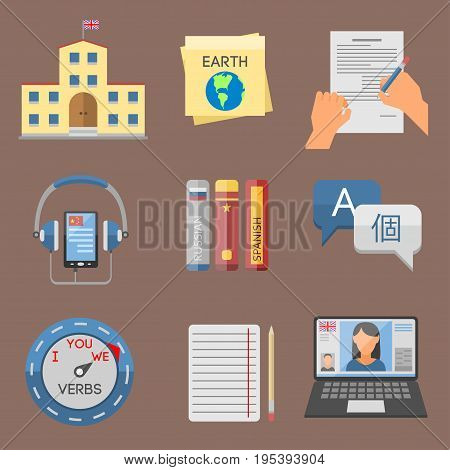 Vector illustration icons for educational programs languages education distance online learning. School process webinars internet interpretatio isolated communication.