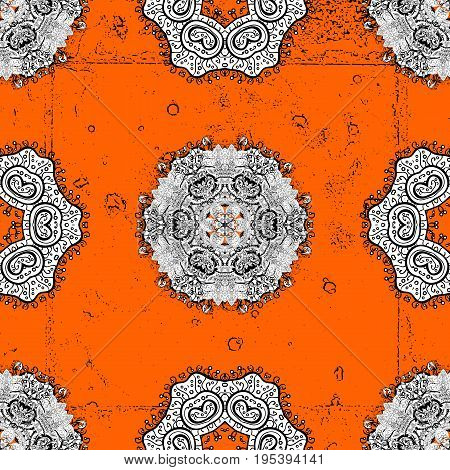 Traditional orient ornament. Classic vintage background. Classic vector orange and white and white pattern.