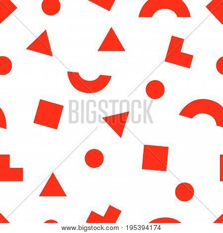 Seamless Modern Abstract Geometry Memphis Minimalism Pattern. Randomly Scattered Red Geometric Shape