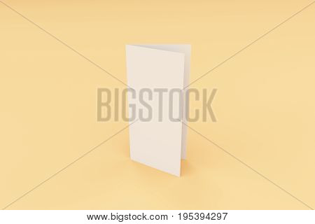 Blank White Closed Three Fold Brochure Mockup On Orange Background