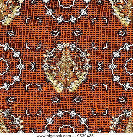 Pattern on orange and white background with white elements. Traditional classic white pattern. Oriental ornament in the style of baroque. Vector oriental ornament.