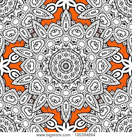 Vintage pattern on orange roughness background with white elements. Christmas snowflake new year. Pattern on orange background with elements.