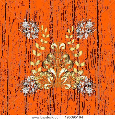 Antique white repeatable sketch. Damask pattern repeating background. White orange and white floral ornament in baroque style. Elements on orange background.
