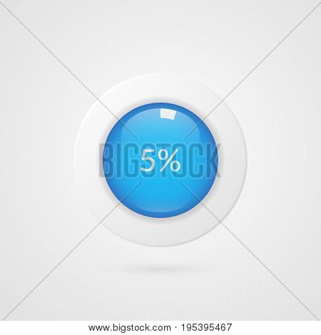 5 percent blue white pie chart. Percentage vector infographics. Five Circle diagram isolated symbol. Business illustration icon for marketing presentation project data report information plan web design