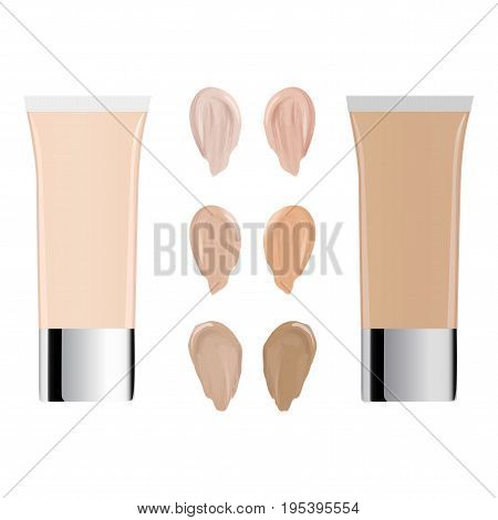 Vector Illustration Of Color Shades Palette For Foundation. Make Up Cosmetic Products For Banner, Po