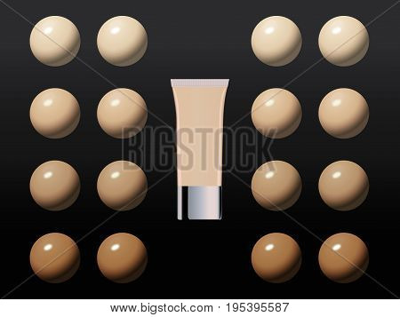 Vector Illustration Of Color Shades Drops Palette For Foundation. Make Up Cosmetic Products For Bann