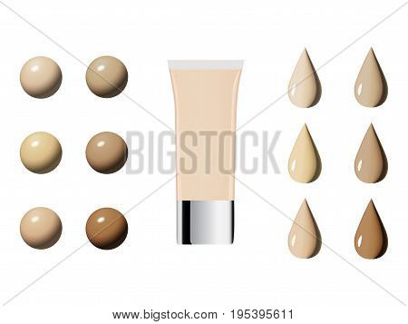 Vector Illustration Of Color Shades Palette For Foundation.make Up Cosmetic Products For Banner, Pos