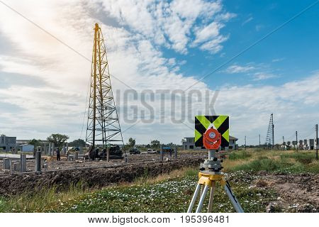 Civil Engineering And Construction Projects With Survey Equipment Tacheometer