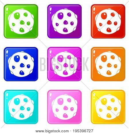 Alone planet icons of 9 color set isolated vector illustration