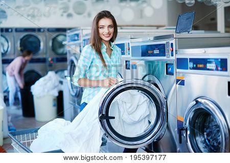 Girl Standing Near Washing Machine