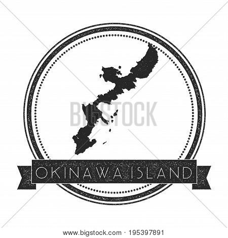 Okinawa Island Map Stamp. Retro Distressed Insignia. Hipster Round Badge With Text Banner. Island Ve
