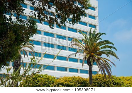 Cityscape office buildings with modern corporate architecture in Los Angeles. California