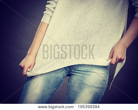 Unrecognizable Woman Wearing Too Big Jumper