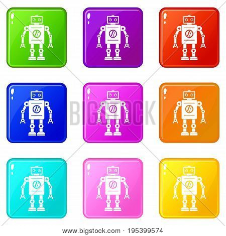 Retro robot icons of 9 color set isolated vector illustration