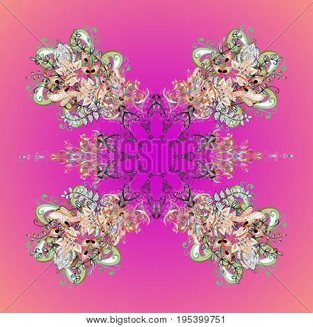Design. Stock vector illustration falling snow. Snowflakes snowfall stylized snow on colorful background.