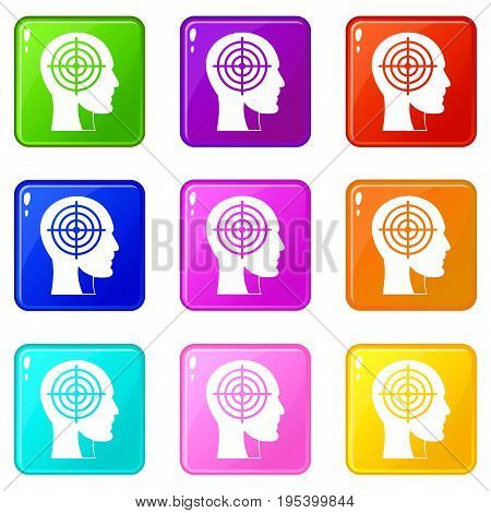 Crosshair in human head icons of 9 color set isolated vector illustration
