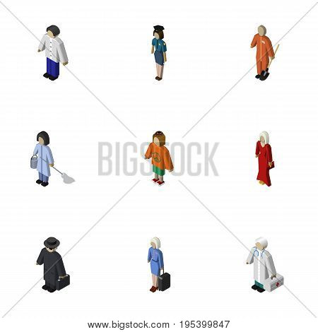Isometric People Set Of Housemaid, Medic, Policewoman And Other Vector Objects. Also Includes Girl, Boy, Hippie Elements.