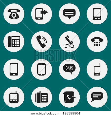 Set Of 16 Editable Phone Icons. Includes Symbols Such As Retro Telecommunication, Talking, Message And More. Can Be Used For Web, Mobile, UI And Infographic Design.