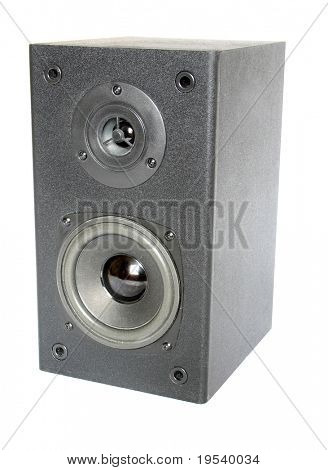 black speaker isolated on gradient with reflection