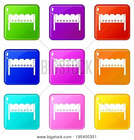 Brazier icons of 9 color set isolated vector illustration