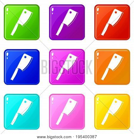 Meat knife icons of 9 color set isolated vector illustration