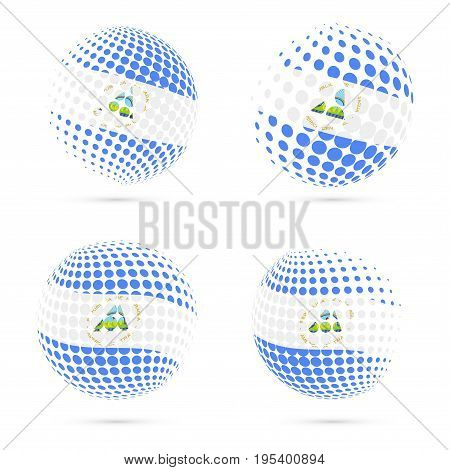 Nicaragua Halftone Flag Set Patriotic Vector Design. 3D Halftone Sphere In Nicaragua National Flag C