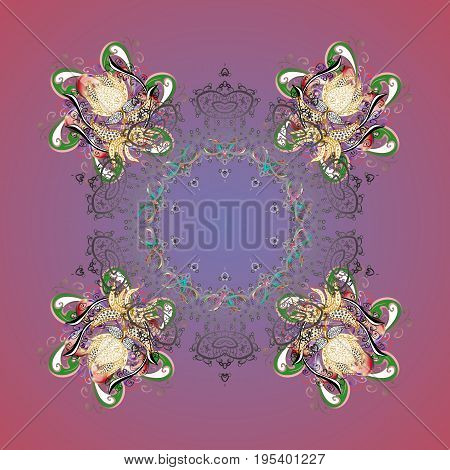 Abstract border. Vector pattern colorful Christmas background. Vector Christmas snowflakes with doodles and dots on colors background. Winter boarder.