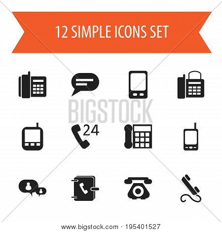 Set Of 12 Editable Gadget Icons. Includes Symbols Such As Office Telephone, Home Cellphone, Comment And More. Can Be Used For Web, Mobile, UI And Infographic Design.
